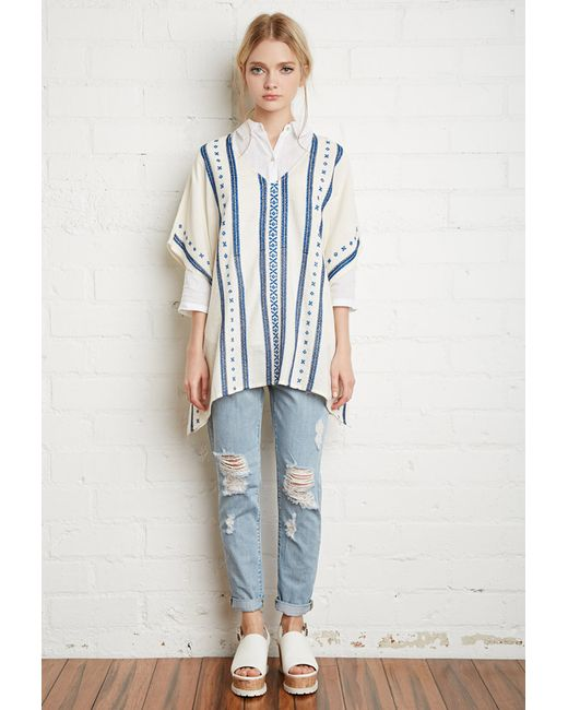 Forever 21 | Natural Embroidered Cotton Poncho Top | Lyst