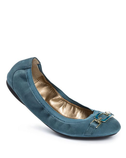 Me Too | Blue Ava Leather Bit Flats | Lyst