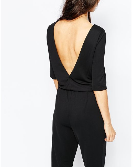 vero moda flared jumpsuit in black save 31 lyst. Black Bedroom Furniture Sets. Home Design Ideas