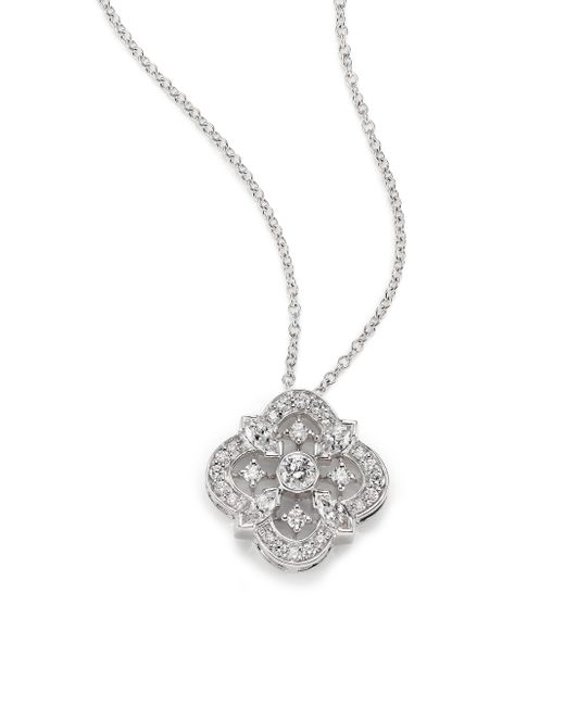 Kwiat | Diamond & 18k White Gold Flower Clover Pendant Necklace | Lyst