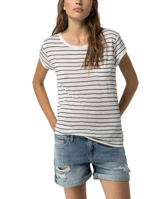 Tommy hilfiger basic crepe stripe t shirt in white save for Tommy hilfiger fitzgerald striped shirt
