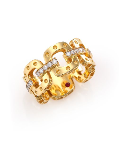 Roberto Coin | Metallic Pois Moi Diamond & 18k Yellow Gold Chain Band Ring | Lyst