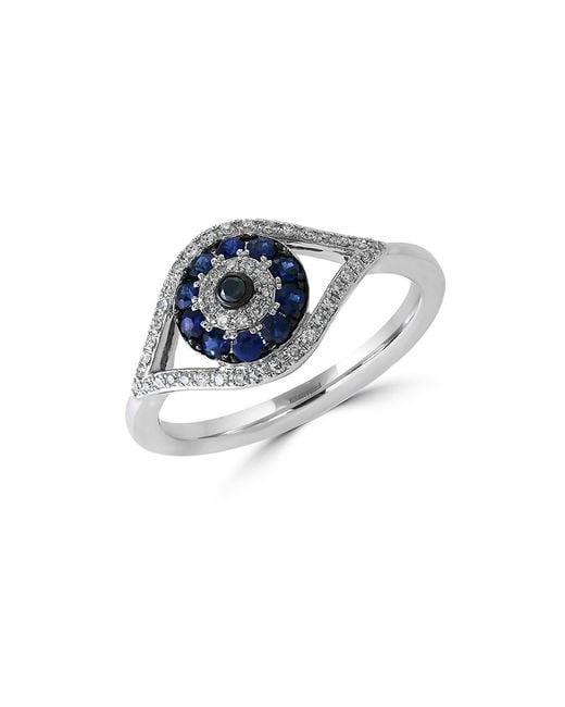 Effy | Metallic Royale Bleu Sapphire, Diamond And 14k White Gold Evil Eye Ring | Lyst