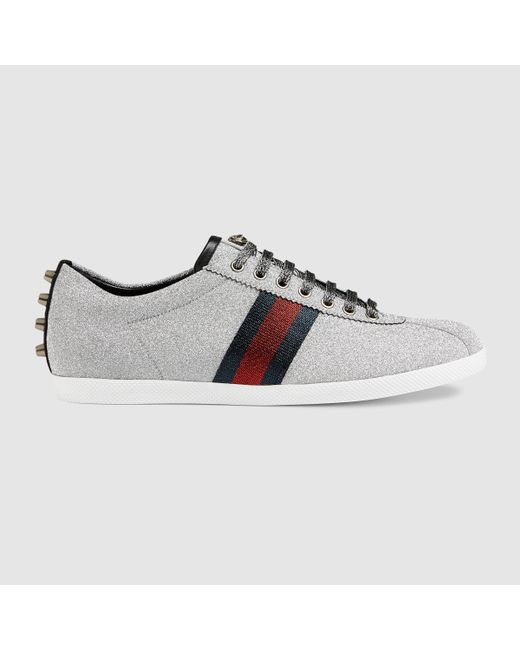 gucci glitter web sneaker with studs in silver for men silver glitter fabric lyst. Black Bedroom Furniture Sets. Home Design Ideas