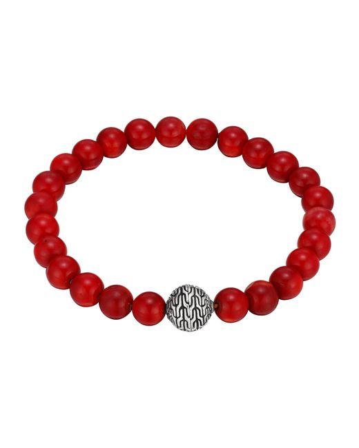 John Hardy   Red Silver & Coral Beaded Bracelet   Lyst