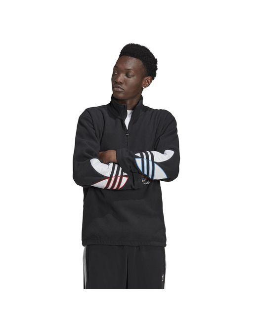 Adidas Black Tricolor Polar Fleece 1/2 Zip Hoodie for men