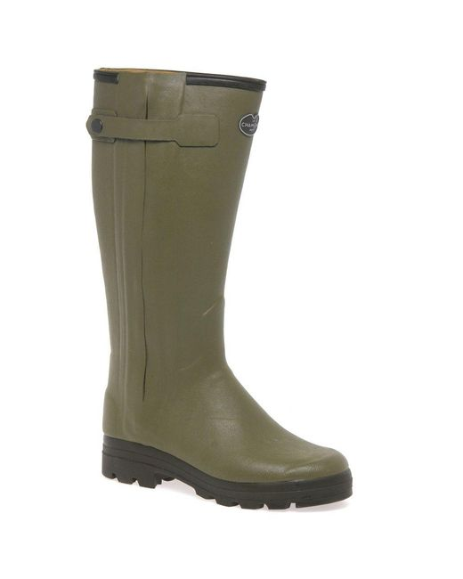 Le Chameau Green Chasseur Cuir Mens Leather-lined Wellingtons for men