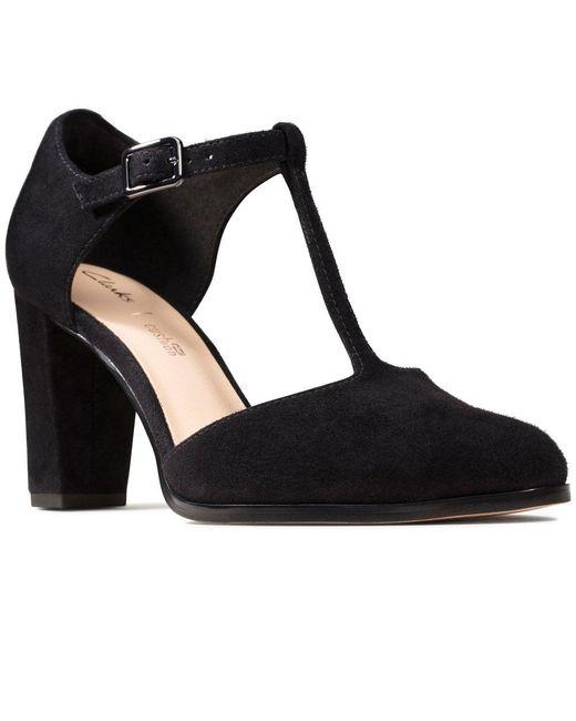 Clarks Black Kaylin85 Tbar Womens Court Shoes