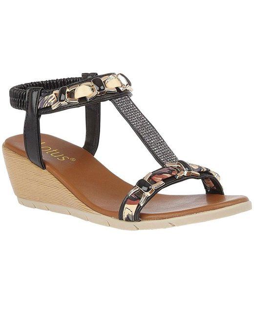 Lotus Black Neve Womens Wedge Sandals