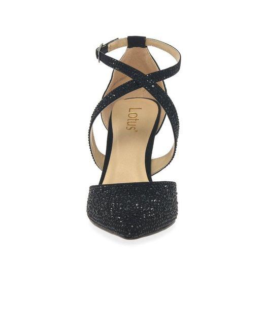 Star Black Diamante Court Shoe