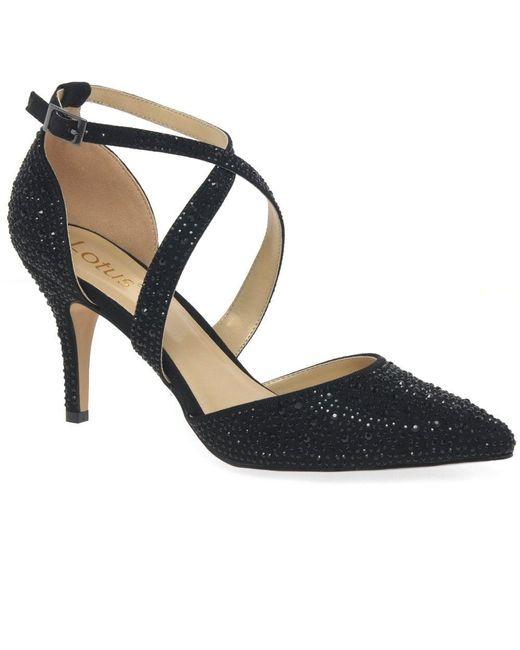 Lotus Black Star Womens Dress Sandals
