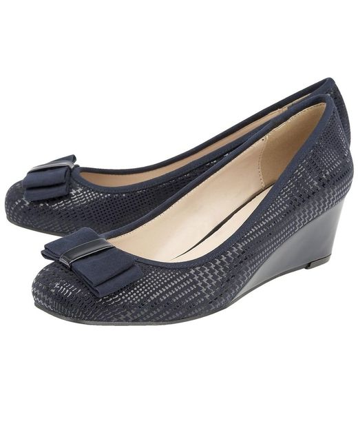 Womens Ballet Wedge Shoes In Navy Blue