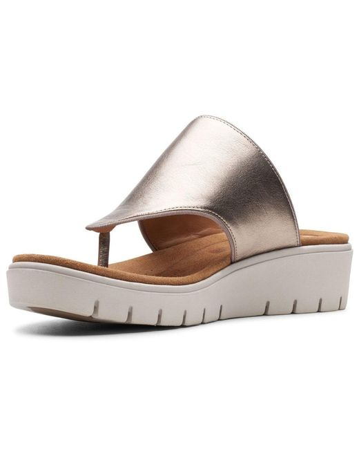 c70634aa87aa ... Clarks - Metallic Un Karely Sea Womens Toe Post Sandals - Lyst ...