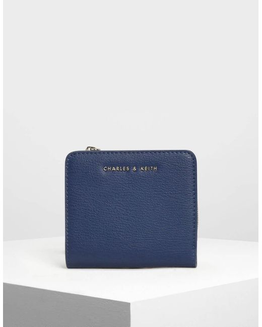 Charles & Keith Blue Classic Snap Button Card Holder