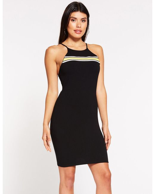 Charlotte Russe - Black Striped Detailed Bodycon Dress - Lyst