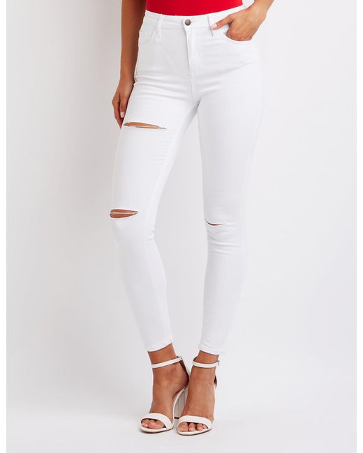 Charlotte Russe - White Cello High Waist Skinny Jeans - Lyst