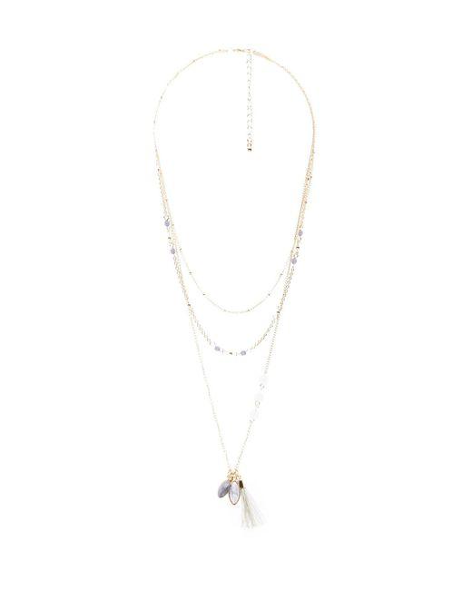 Charlotte Russe - Metallic Marble Stone & Tassel Pendant Layering Necklaces - Lyst