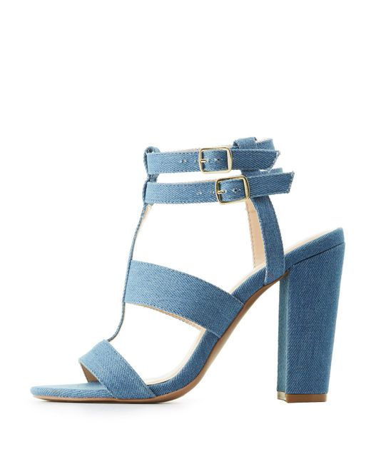 Charlotte Russe - Blue Caged Block Heel Sandals - Lyst