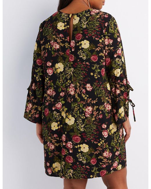 Lyst Charlotte Russe Plus Size Floral Bell Sleeve Shift Dress In Black