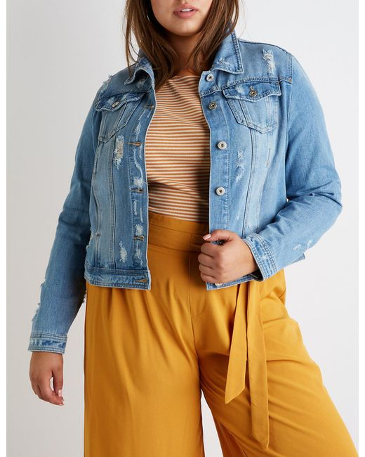 Charlotte Russe - Blue Plus Size Destroyed Denim Jacket - Lyst