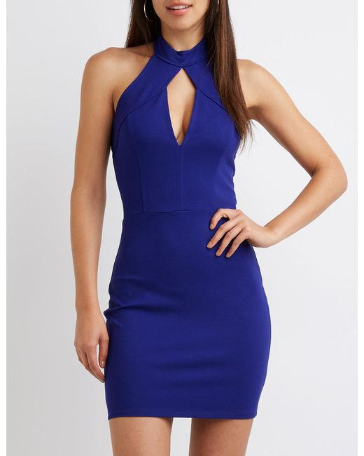 Lyst Charlotte Russe Keyhole Halter Bodycon Dress In Blue Save