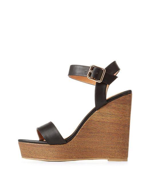 Charlotte Russe - Black Ankle Strap Wedge Sandals - Lyst