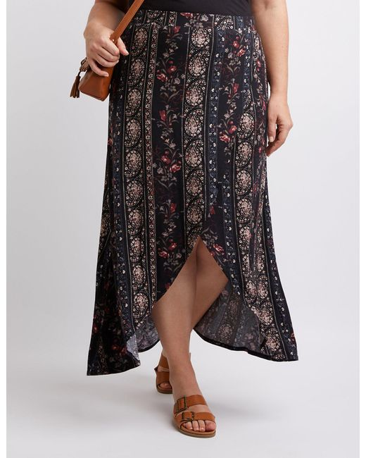 Charlotte Russe - Black Plus Size Floral & Paisley Maxi Skirt - Lyst