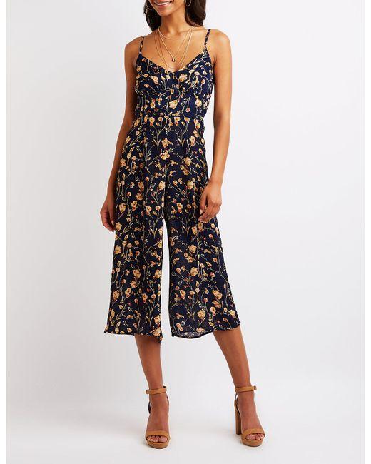 db30d0b6117d2 Charlotte Russe - Black Floral Culotte Jumpsuit - Lyst ...