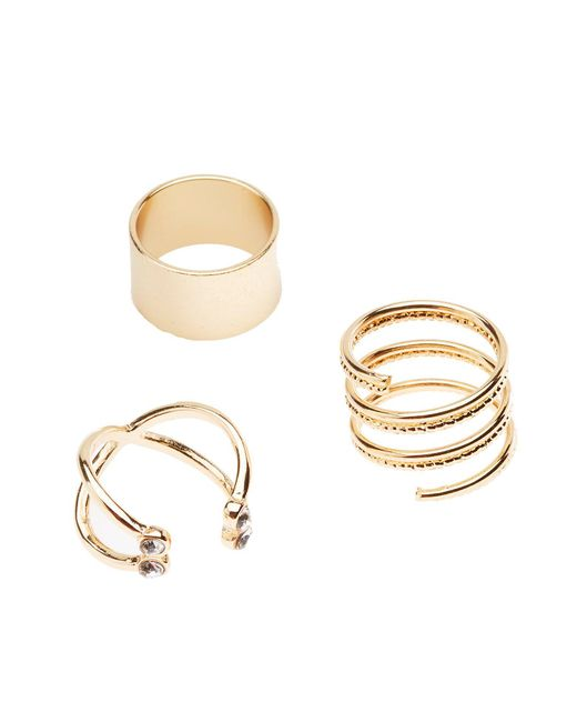 Charlotte Russe - Metallic Statement Rings - 3 Pack - Lyst