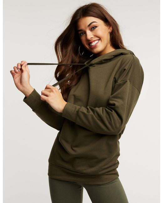 Charlotte Russe - Green Hooded Tunic Sweatshirt - Lyst