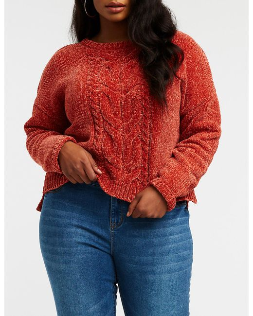 Lyst Charlotte Russe Plus Size Chenille Pullover Sweater In Red