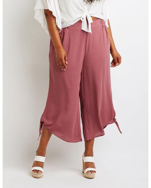1f5dd9fb09f Lyst - Charlotte Russe Plus Size Tie Side Wide Leg Pant in Purple ...