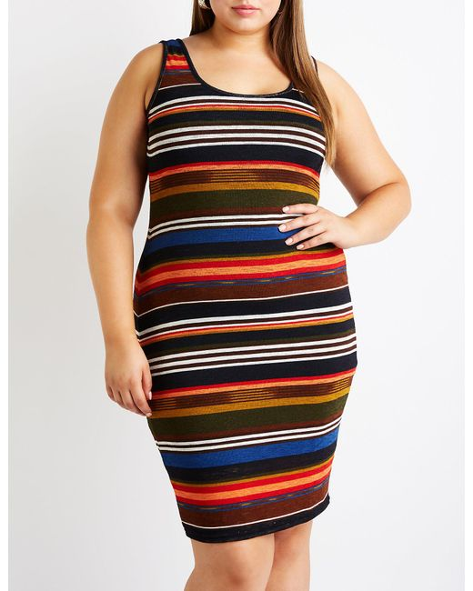 Women\'s Black Plus Size Striped Knit Dress