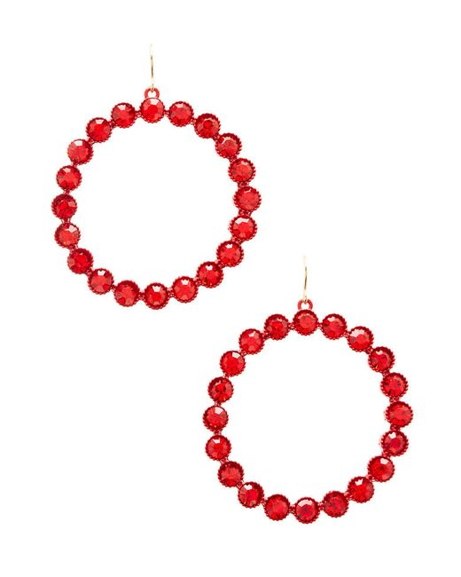 Charlotte Russe - Red Crystal Hoop Earrings - Lyst