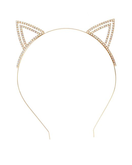 Charlotte Russe - Metallic Rhinestone Cat Ear Headband - Lyst