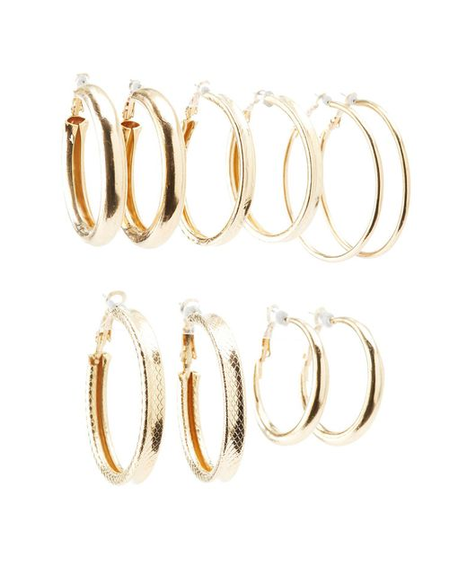 Charlotte Russe - Metallic Textured Hoop Earrings - 6pack - Lyst