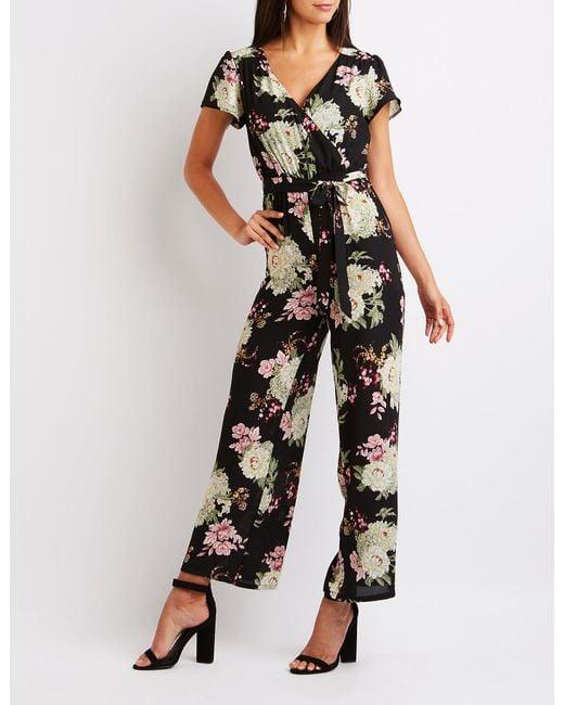 c8646943f8f Lyst - Charlotte Russe Floral Wrap Jumpsuit in Black