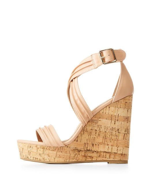 Charlotte Russe - Natural Ruched Ankle Wrap Wedges - Lyst