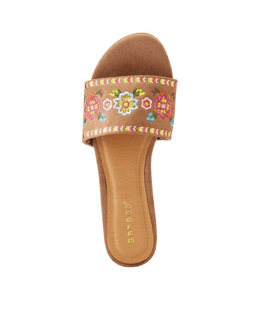 Charlotte Russe - Multicolor Bamboo Faux Suede Slide Sandals - Lyst