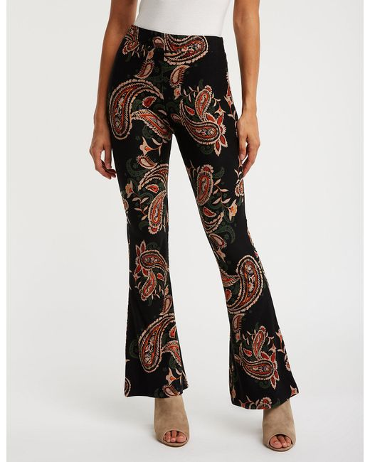 Charlotte Russe - Black Paisley Print Flare Pants - Lyst