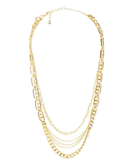 Charlotte Russe - Metallic Mixed Chain Layered Necklace - Lyst