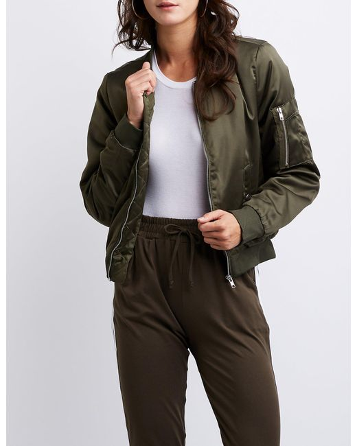 468d7491aec Lyst - Charlotte Russe Bomber Jacket in Green
