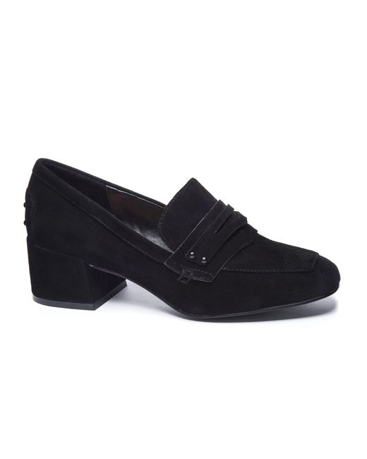 Chinese Laundry - Black Marilyn Kid Suede Heeled Loafer - Lyst