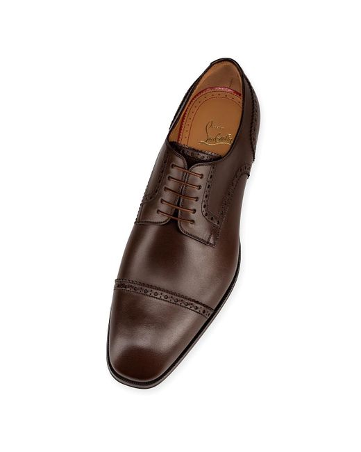 ed8230848b2 ... Christian Louboutin - Brown Cousin Charles Flat Leather Shoes for Men -  Lyst ...