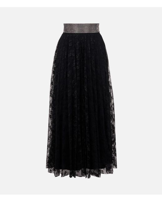 Christopher Kane Black Crystal Lace Pleated Skirt