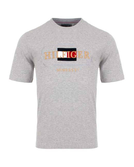 Tommy Hilfiger Gray Relaxed Fit Rope Embroidery T-shirt for men