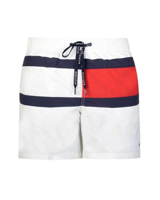 Tommy Hilfiger White Block Colour Swim Shorts for men