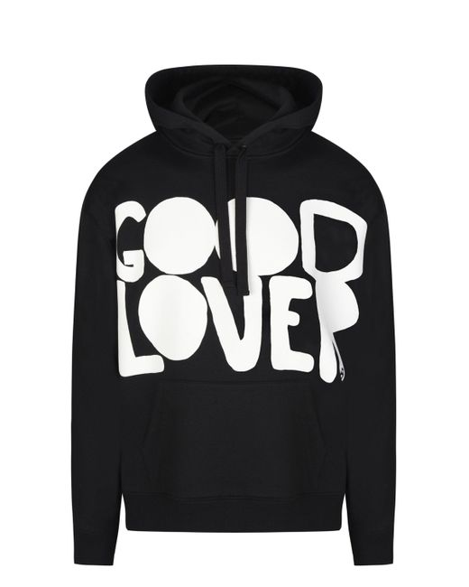 Valentino Black Hooded Cotton Sweatshirt With Good Lover Print for men
