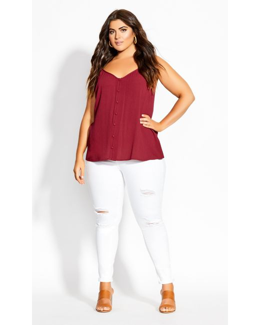 City Chic Red Tropic Button Cami