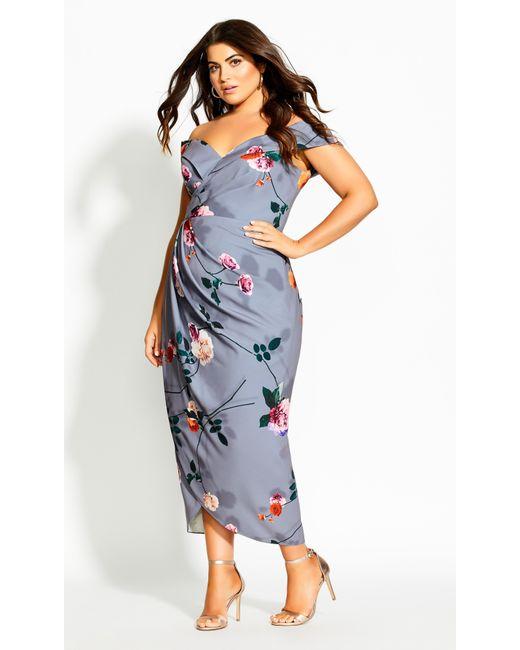 City Chic Blue Floral Shadows Maxi Dress